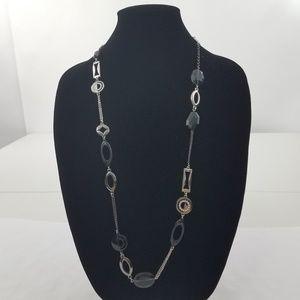 Lia Sophia Necklace Gray Beaded Chain black Rhines